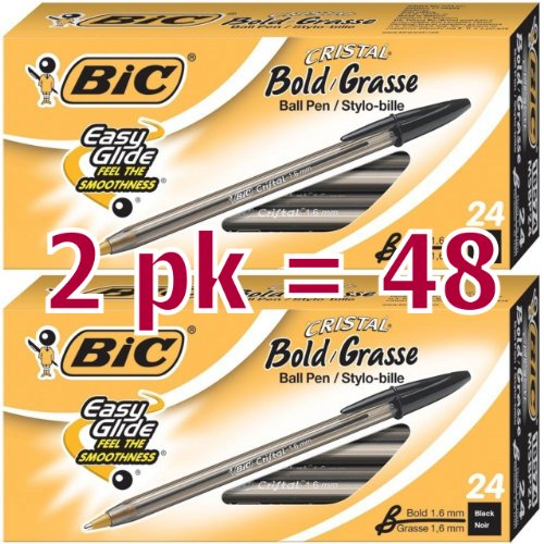 Value Pack of 48 - BIC Cristal Bold  Ball Pen, Black, 48ct