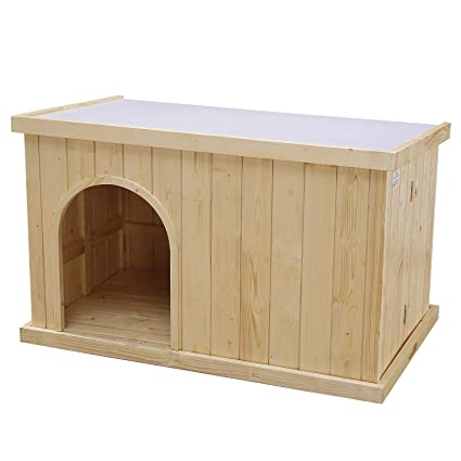 Jsy Natural Pine Dog House Kennel With Opening Roof Bottom Removable For Indooroutdoor Only 4 Steps Assembled Large