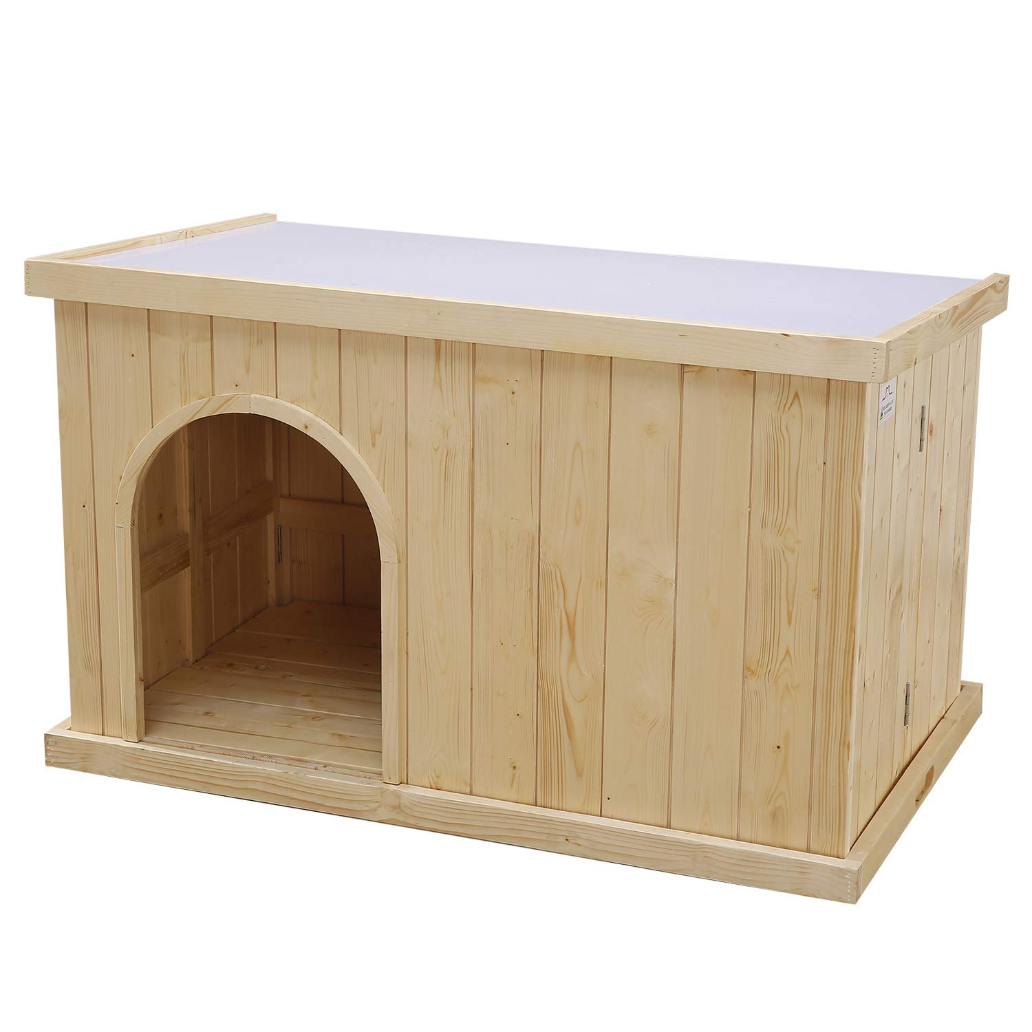 JSY Natural Pine Dog House Kennel with Opening Roof & Bottom Removable for Indoor/Outdoor, Only 4-Steps Assembled-Large