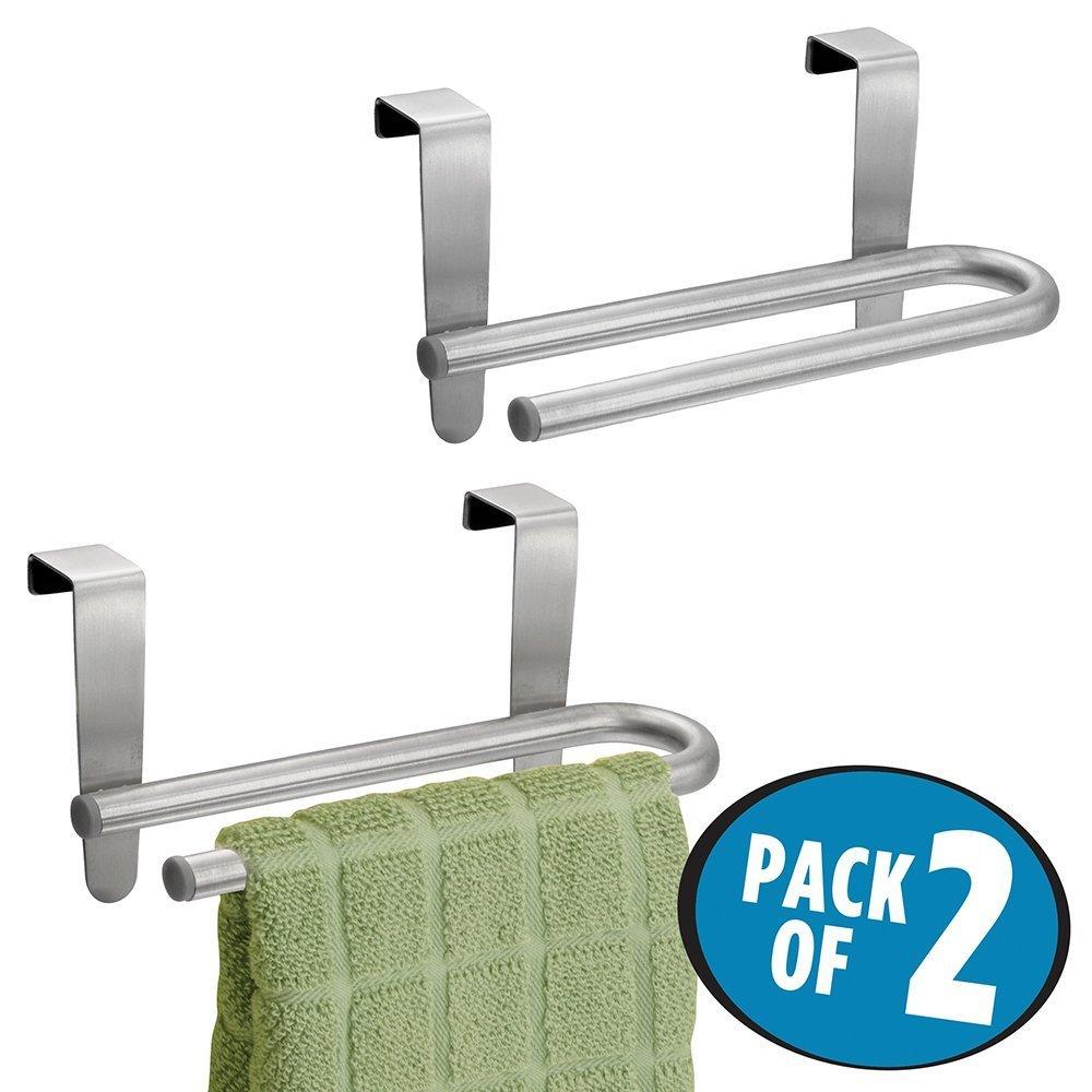 mDesign porta asciugamani - forma a U – ideale porta salviette per cucina e bagno – 16, 51 cm - senza montaggio - acciaio - doppio MetroDecor 3368MDK
