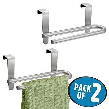 mDesign Toallero para cocina colgante - Con doble soporte para toallas y repasadores - Forma de