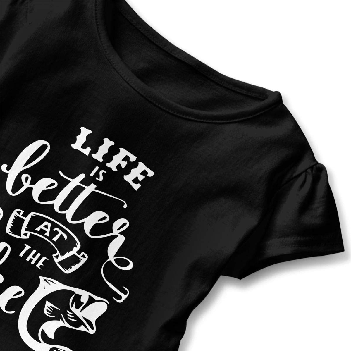 HYBDX9T Little Girls Life is Better at The Lake Funny Short Sleeve Cotton T Shirts Basic Tops Tee Clothes