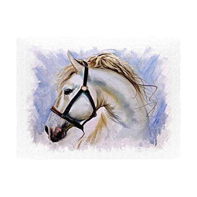White Horse Jigsaw Puzzle 252 Pieces,Funny Novelty Gift for Adults Kids: Toys & Games [5Bkhe1206833]