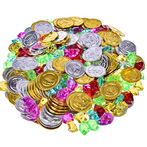 Pirate Toys Gold Coins and Pirate Gems Jewelry Playset, Easter Egg Fillers, Treasure for Pirate Party Favor Supply, Goodie Bag Fillers, Treasure Box Prizes for Classroom - 288 Pcs (144 Coins+144 Gems) - Gold Coins Party Favors