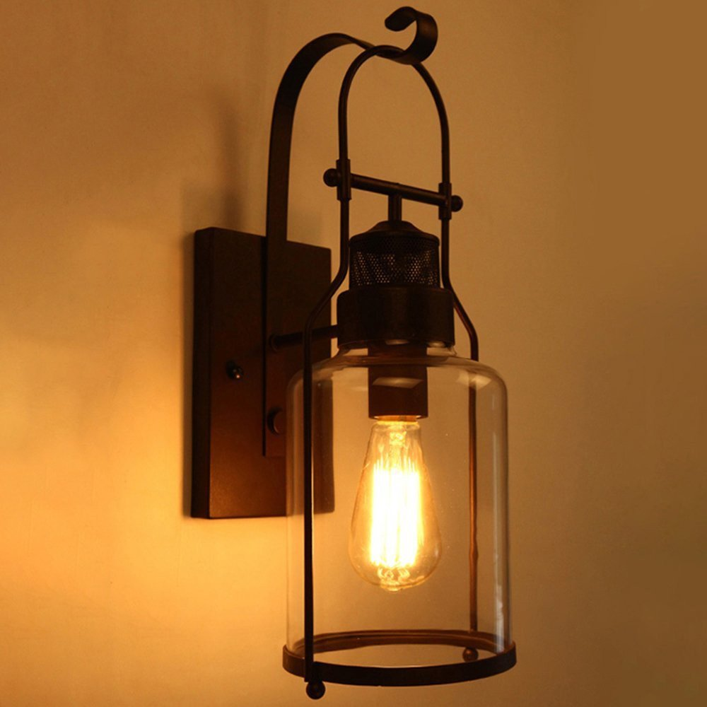 NIUYAO Wall Light Loft Style Metal Lantern with Clear Glass Shade Wall Sconce in Black Finish Retro Vintage Industrial Single Light