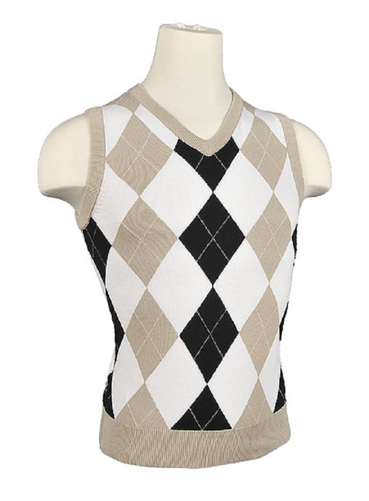 Ladies' Colorful 1920s Sweaters and Cardigans History Womens Argyle Golf Sweater Vest - Khaki/White/Black/White Overstitch $55.00 AT vintagedancer.com