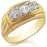 YourJewelleryBox tk946g MANS 3 STONE 3CT SIMULATED DIAMONDS MENS RING ALL SIZES SIGNET STEEL 18C