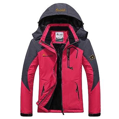 Panegy - Chaqueta para Mujeres para Deportes Esquí Invierno Abrigo impermeable Chaqueta de Nieve a prueba Viento - Azul Verde Rojo Rosa - Talla ...