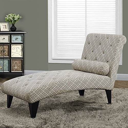 Chaise Lounge Sturdy Yet Stylish Tapered Legs Fashionable Tufted Accents Cylindrical Accent Pillow Blends Well with Many Decors