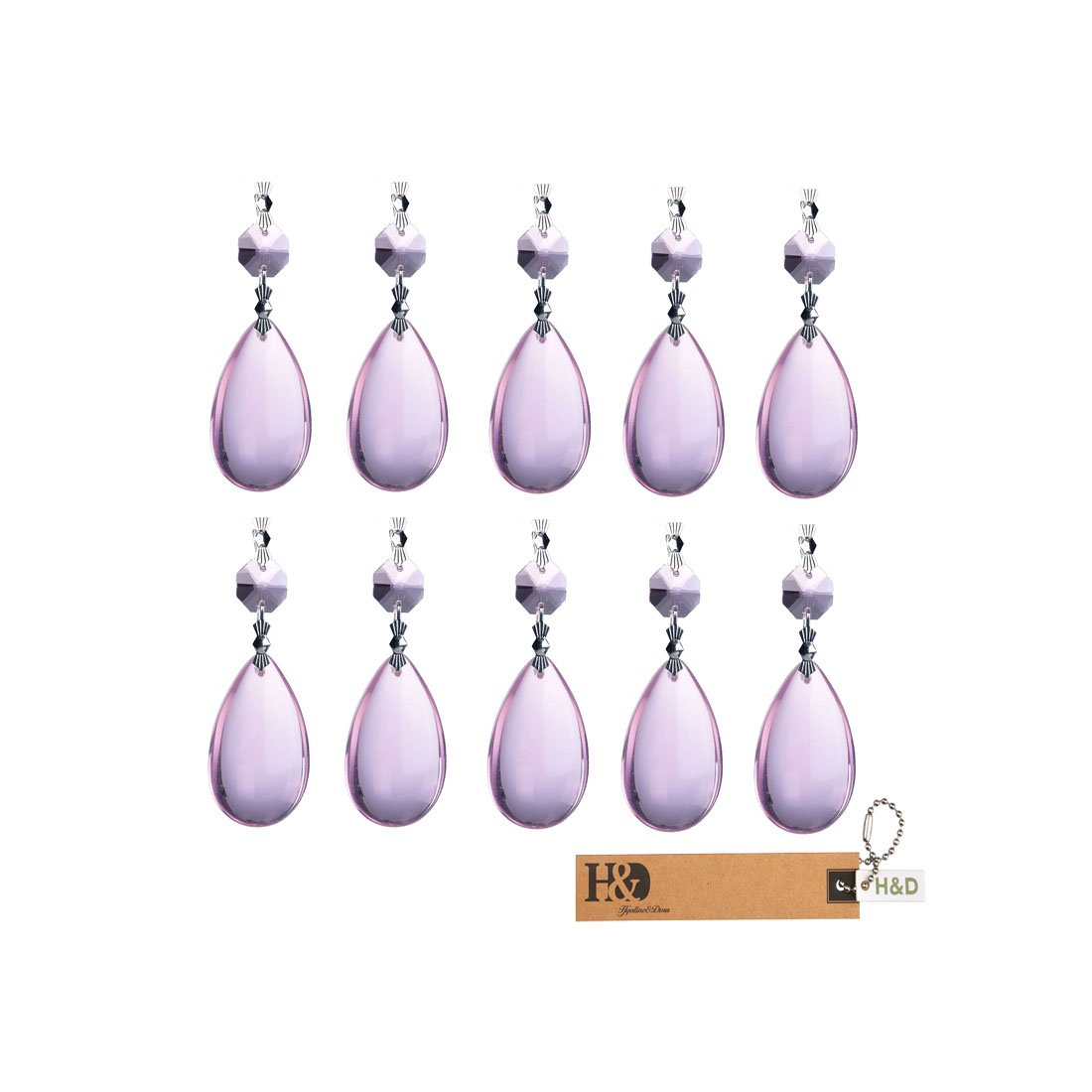 Inconnu H /& D 50/mm Gouttes de cristal Pendentif Mariage prismes de chandelier avec fermoir papillon Guirlande de No/ël Lot de 10/pcs