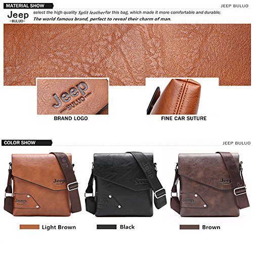JEEP BULUO Leather Messenger Bag For Men (Black) by JEEP BULUO (Image #3)
