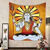 Gzhihine Custom tapestry Spiritual Tapestry Indian God on Grunge Backdrop Faith Idol Meditation Boho Holy Print for Bedroom Living Room Dorm Amber Orange Light Blue