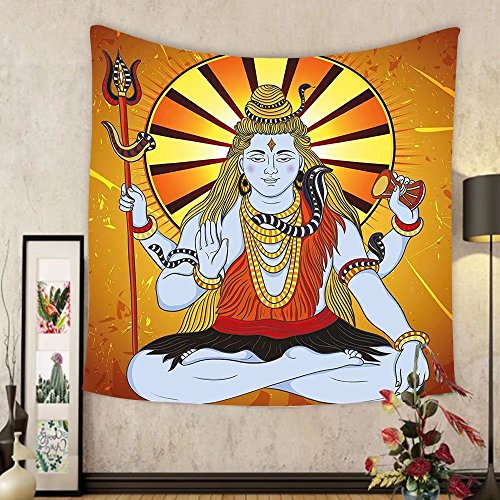 Gzhihine Custom tapestry Spiritual Tapestry Indian God on Grunge Backdrop Faith Idol Meditation Boho Holy Print for Bedroom Living Room Dorm Amber Orange Light Blue by Gzhihine