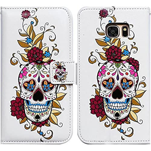 Bfun Packing Bcov Colorful Flower Skull Card Slot Wallet Leather Cover Case For Samsung Galaxy S7 Sales