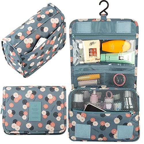L&FY Multifunction Portable Travel Toiletry Bag Cosmetic Makeup Pouch Toiletry Case Wash Organizer (Blue)