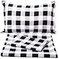 Tealp Black and White Plaid Bedding