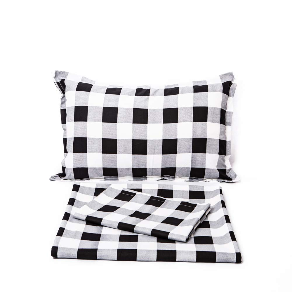 TEALP Buffalo Check Duvet Cover Black and White Plaid Bedding 3 Pieces Full Size