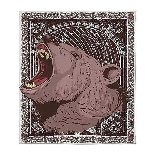 (YOLIYANA Flannel Blanket,Animal Print,for Living Room Bedroom Hotel,Size Throw/Twin/Queen/King,Illustration of The Growling Grizzly Bear Head)