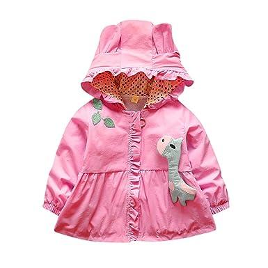 Rucan Baby Girls Cartoon Fawn Windbreaker Jacket Hooded Coat Kids Outwear Clothing