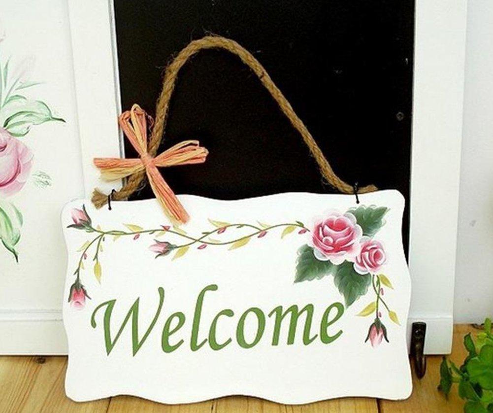 Leisial Peinture Couleur Noir Panneaux de Porte Ondul/é Rectangulaire Porte en Bois Plaque de Porte Panneaux de Bienvenue Style Pastoral Board Sign Flower Rectangle Pattern