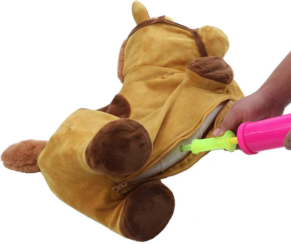 Light Brown Weisfe78 Shipped from USA,Hopping Horse Ride On Inflatable Plush Covered Bouncy Hopper with Pump Bouncing Animal Play Toys for Outdoors Activities Gift Kids Toddlers Children Boys Girls