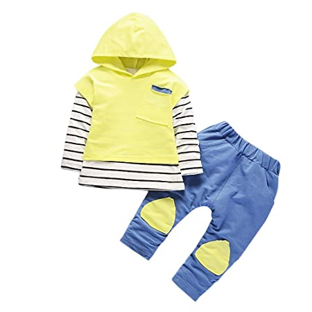 Feixiang Los niños pequeños Usan Ropa de niños y niñas con Capucha Camiseta de Rayas Tops + Pantalones Ropa Traje bebé niña Trajes de Descuento Camisa ...