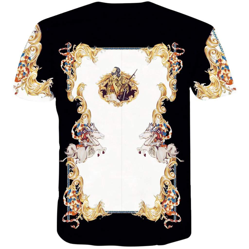 Mens Funny 3D Printing Fitness Elastic Short Sleeve T-Shirt Top Blouse Palarn Mens Fashion Sports Shirts