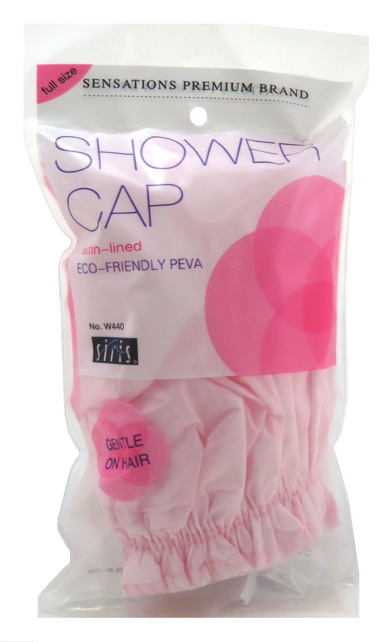 Siris Shower Cap Full Size Satin Lined Vinyl (2 Pack)