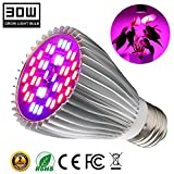 30W Led Grow Light Bulb, Plant Lights Bulbs Full Spectrum Grow Lamp for Indoor Plants Vegetables and Seedlings,Growing Bulbs for Hydroponics Garden Greenhouse and Organic Soil (E27 40LEDs)