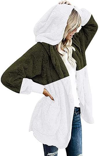Doublelift Womens Oversized Sherpa Pullover Bat Sleeve High Neck Fleece Coat with Pockets