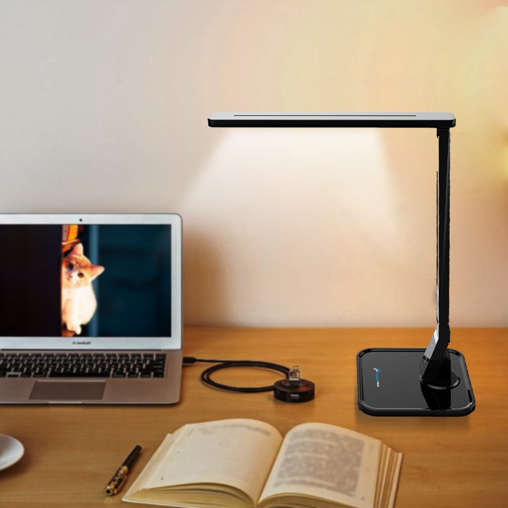 Fugetek LED Table Desk Office Lamp with Timer - Best LED Desk Lamps For Working and Reading, 1 Hour Auto Timer, Black & White