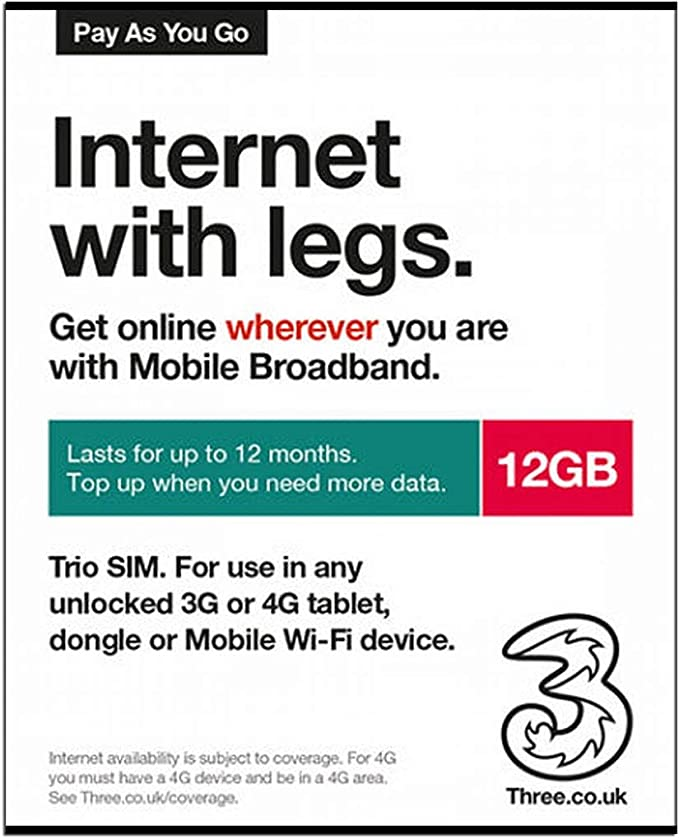 Three UK PAYG Trio Data SIM Card Mobile Broadband -12GB + International Calling Card: Amazon.es: Electrónica