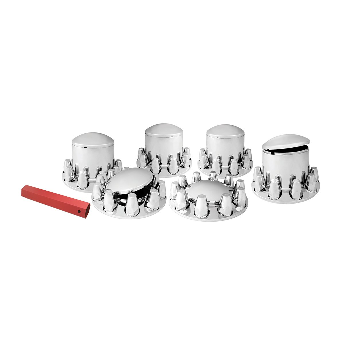 Grand General 40230 Chrome Plastic Complete ABS Axle Cover Set (2 Front and 4 Rear with Standard Hub Caps and Screw-On 33mm Lug Nut Covers for Trucks)