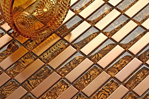 Vetro ambra e oro spazzolato bronzo acciaio inossidabile mosaico