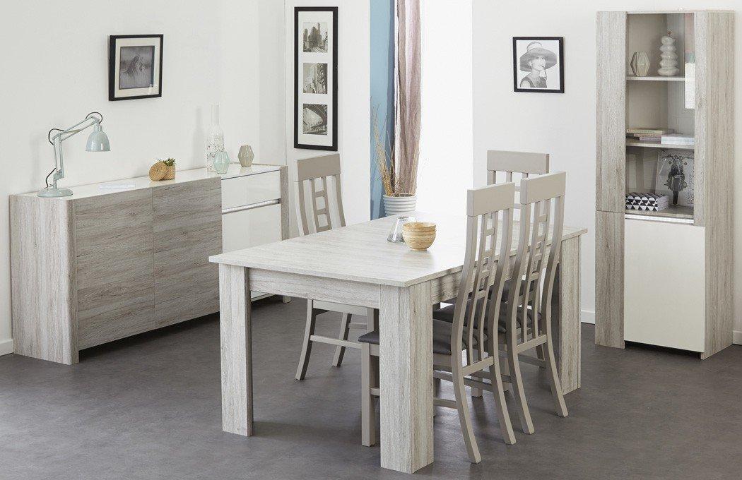 Esszimmer Luena 5 Portofino Grau Weiß Hochglanz Esstisch 4x Stuhl Vitrine  Sideboard Wohnzimmer Esszimmertisch Tisch Glasvitrine Anrichte Jetzt Kaufen