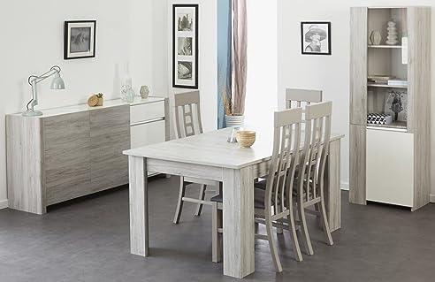 Esszimmer Luena 5 Portofino grau weiß Hochglanz Esstisch 4x Stuhl ...