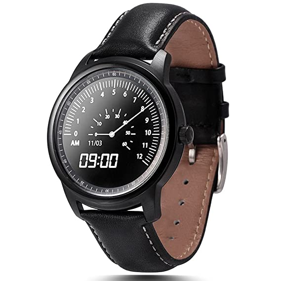 LEMFO LEM1 Smart Watch Bluetooth SmartWatch Fitness Tracker for iOS Android (Stainless Steel with Black Suture Leather Strap)