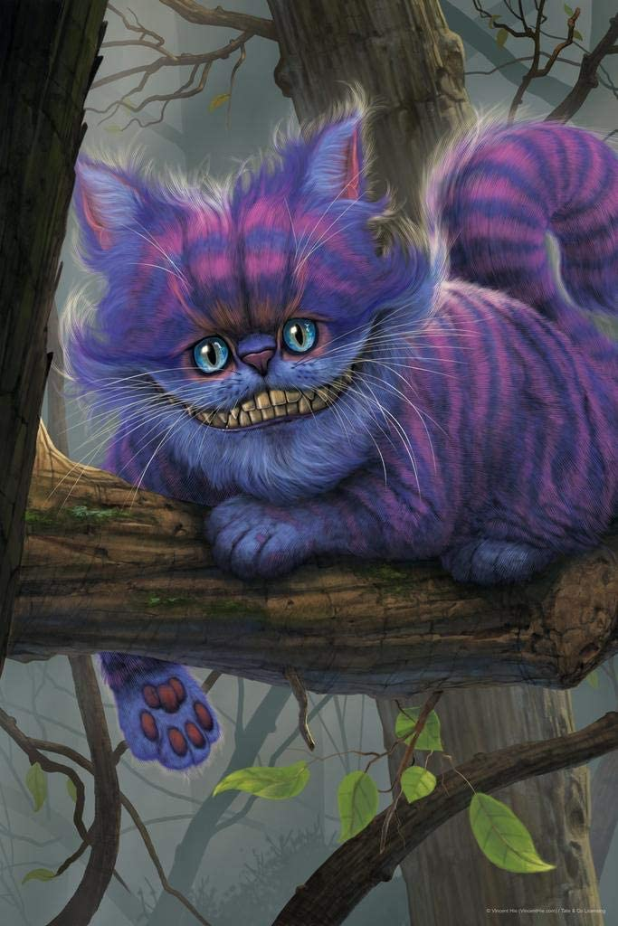 Alice in Wonderland Cheshire Cat in Tree by Vincent HIE Fantasy Cool Wall Decor Art Print Poster 24x36
