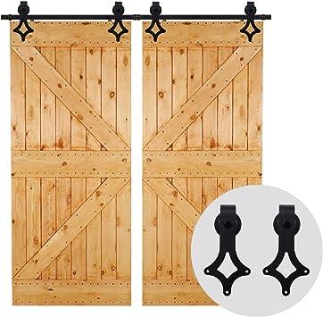 396cm/13FT Herraje para Puertas Corredizas Interiores y Puerta Deslizante para Puertas Correderas,Puerta de Granero Corredera de Madera,puerta doble: Amazon.es: Bricolaje y herramientas