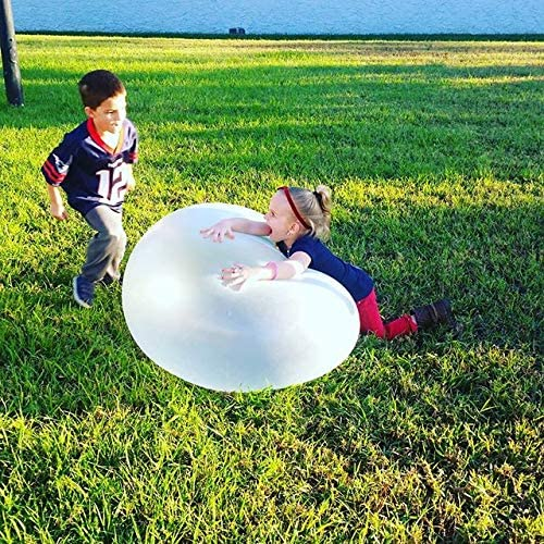 Juguete de Bola de Burbuja Inflable Gran Globo de Rebote TPR Playa Deportes Acu/áticos Jugar al Aire Libre Juguete Bola de Burbuja Lleno de Agua Suave Regalo de Verano para Ni/ños Adultos Azul 47inch