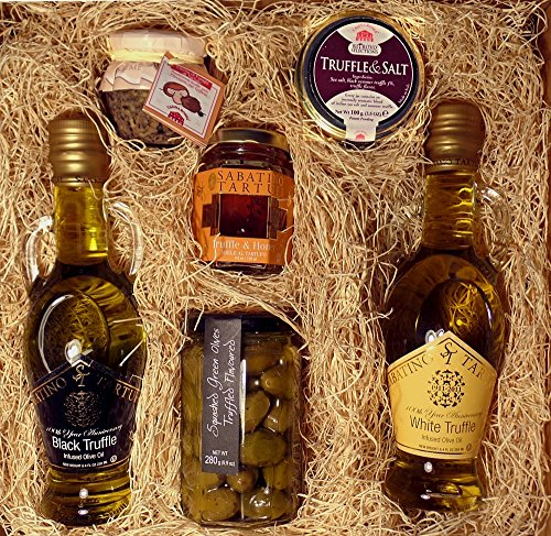 Truffle Experience with White Truffle Oil, Black Truffle Oil, Truffle Olives, Truffle Salt, Truffle Honey, and Mushroom Spread Gourmet Food Gift Box