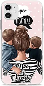 iPhone XR Silicone Case Mom of Boys Cover Women Girls Mother and Children Mommy and Kids Soft TPU Clear Phone Bumper Skin (iPhone XR, Mom of Boys)