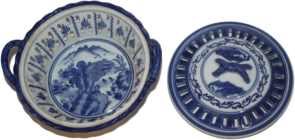 jewelry box ceramic stoneware soap dish Small vintage bowl blue white flower d\u00e9cor side dishes bowl flower pot kitchen herbs