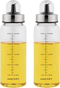 AVACRAFT Glass Olive Oil Dispenser with Leakproof Pour Spout and Measurement Marks on the Oil container for Healthy Cooking,Beautiful Olive Oil Bottle, Oil and Vinegar Dispenser 10OZ, Set of Two (OC3)