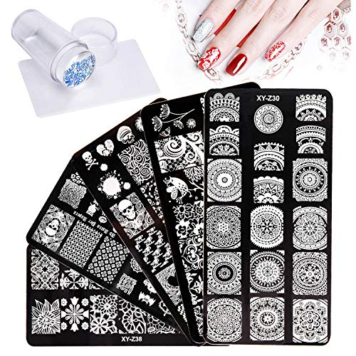 5pcs Nail Art Stamping Plates, Halloween Nail Stamper Templates Kit with1 Stamper 1 Scraper, Flower Animal Pattern Nail Stamping Plates Manicure Print Tools for DIY Salon Nail Art Designs ()