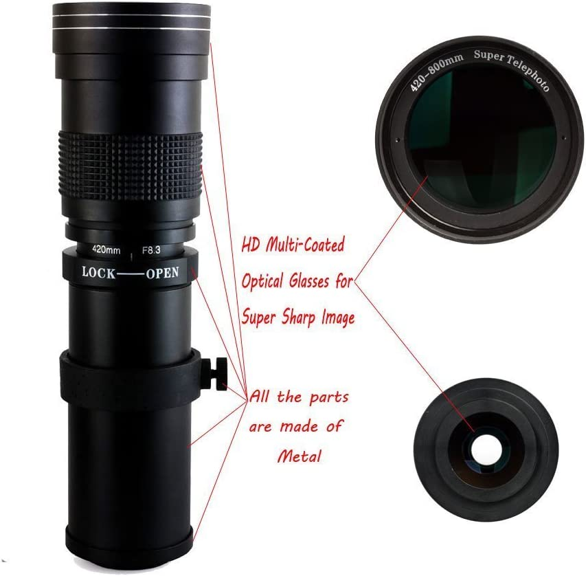 Teleobiettivo 420-800 mm per Canon EOS SLR DSLR EOS 1000d 80d 77d 800d ecc NUOVO