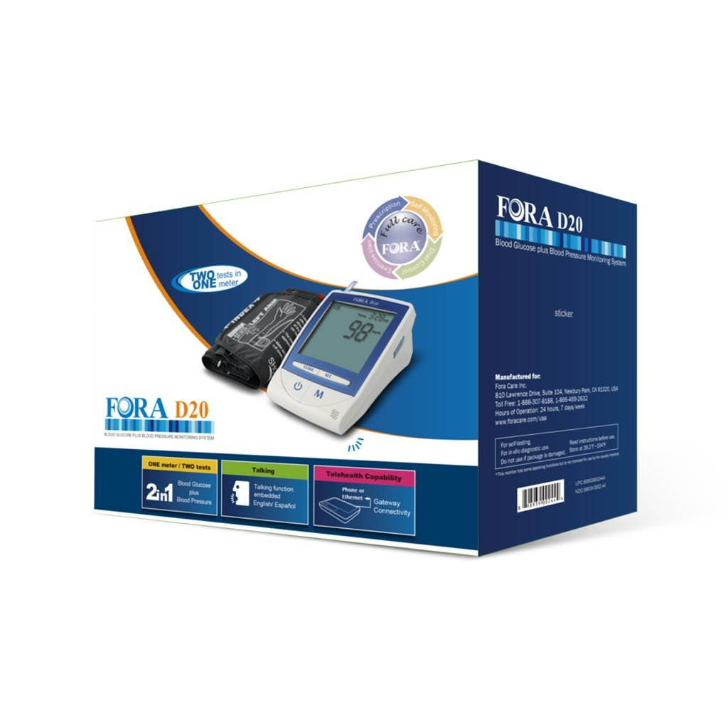 FORA D20 2-in-1 Blood Glucose and Arm Blood Pressure Monitor, with Talking Functions, for Diabetes and Hypertension Monitoring