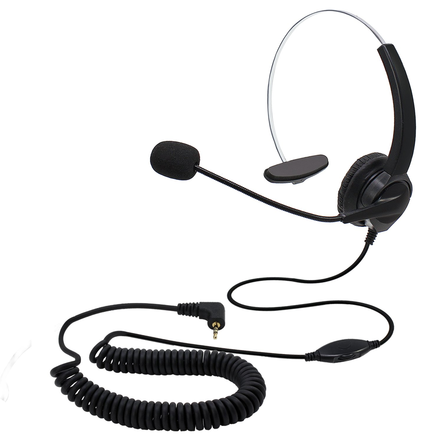 abcGOODefg Handsfree Call Center Headset Single-Ear Corded Noise Cancelling Headphone (2.5mm Monaural Headset)