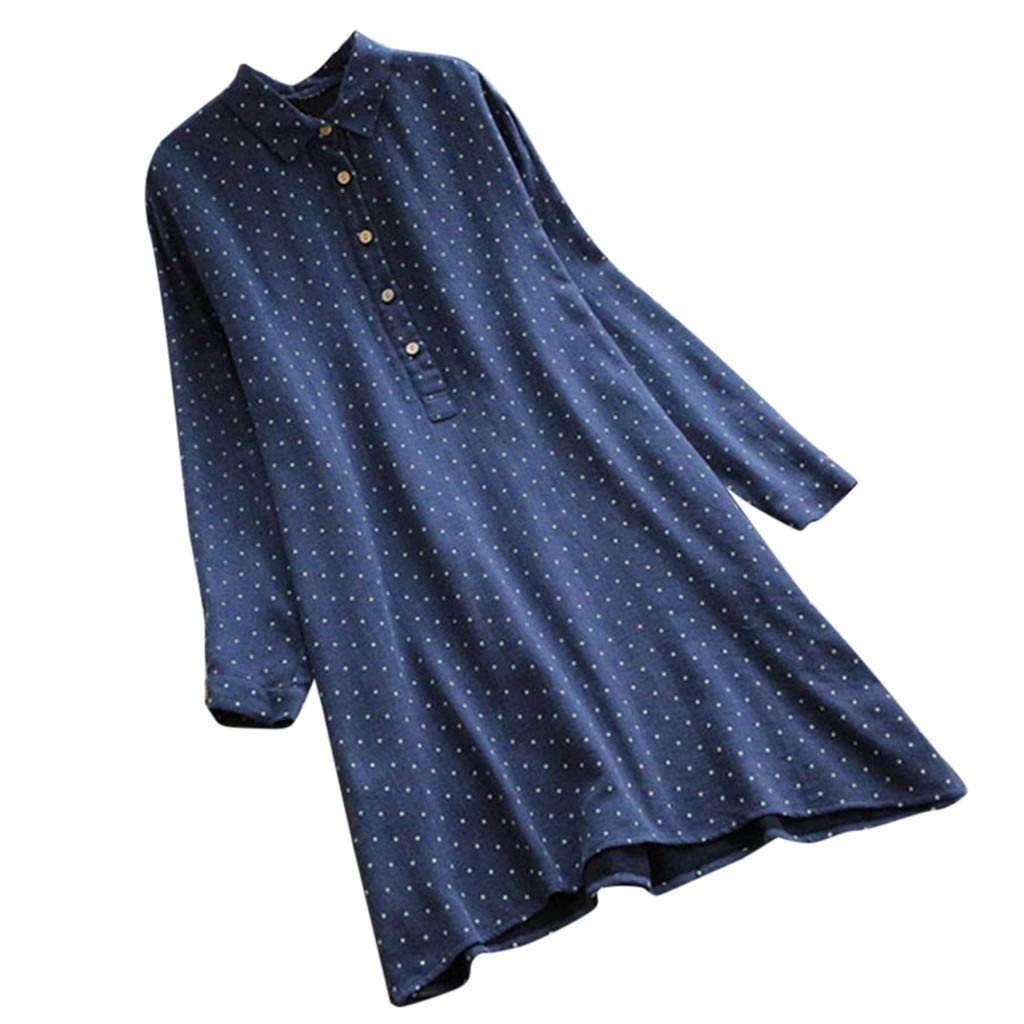 074e2a7e28c Amazon.com  Women s Plus Size Dress Polka Dot Jacket Blouse Long Sleeve  Blouses Tops Button Down Midi Dresses for Women  Clothing