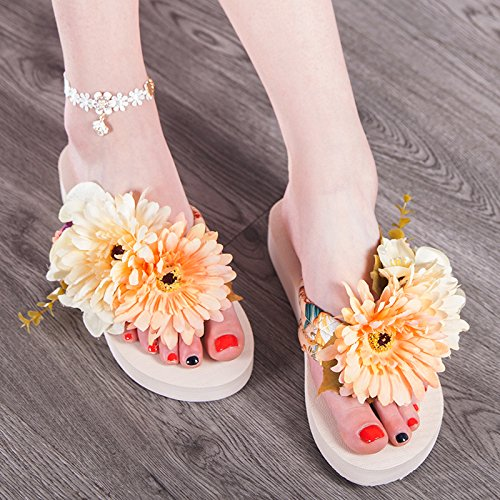 Slippers Holiday Cool Fashionable Summer Comfortable Beach Shoes Shoes Beige KPHY Slope Flower And Hand Sweet Heels zTwxqgO8